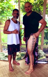 Oldman Hawaiian tattoos leg
