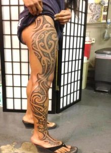 female Hawaiian tattoos leg
