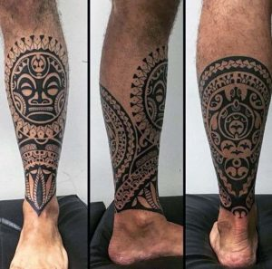 hawaiian tattoos leg for man