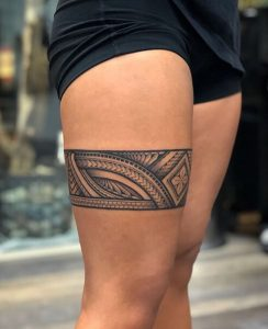 Hawaiian leg tattoos